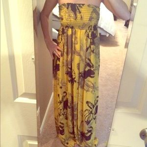Tricia Fix Dresses & Skirts - Mustard Yellow Pattern Maxi Dress