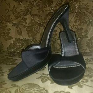 Xhilaration Black Satin heels  Sz 8.5