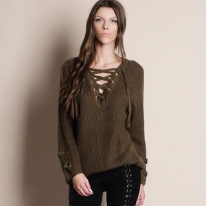 Bare Anthology Sweaters - NBF ❤️ Lace Up Chunky Sweater
