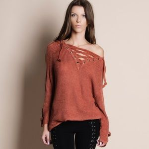NBF ❤️ Lace Up Chunky Sweater Top