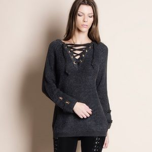 Bare Anthology Sweaters - NBF ❤️ Lace Up Chunky Sweater Top