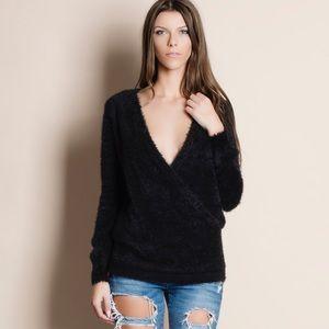 Deep Plunge Faux Wrap Fuzzy Sweater