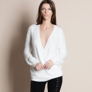 NBF ❤️ Deep Plunge Faux Wrap Fuzzy Sweater