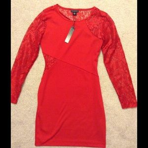 New Long Sleeve Red Lace Dress M