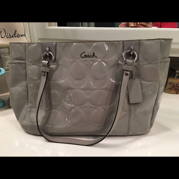 Coach Bags   Grey Patent Leather Tote Bag   Poshmark a6d31026a1