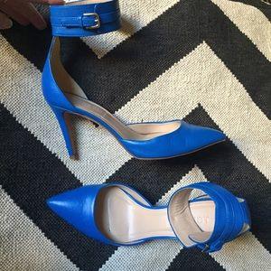 J.Crew blue leather D'Orsay pumps