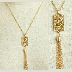 Jewelry | GOLD DRUZY STONES & TASSEL NECKLACE