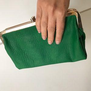 Handbags - EUC Vegan Leather Emerald Green folding clutch