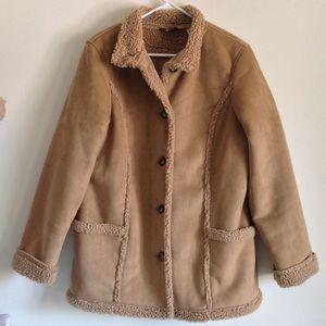 L.L. Bean Jackets & Blazers - L.L.Bean Faux Suede Shearling Coat
