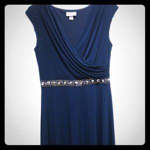 Empire waist, navy blue cocktail dress