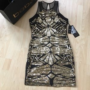bebe Dresses & Skirts - Bebe Cocktail Dress with Gold Sequin✨✨