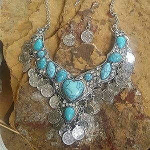 Boho Heart Turquoise Coin Necklace Set