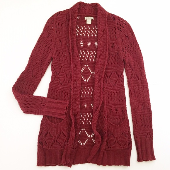 83% off Lucky Brand Sweaters - Lucky Brand Red Berry Open Knit ...