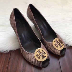 Tory Burch Shoes - | Tory Burch | Sally Python Print Leather Wedges