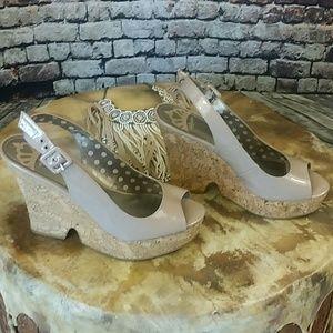 Fergalicious Shoes - Fergalicious Nude Wedge Heels