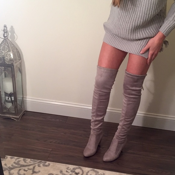 fd2d16562 Boutique Shoes | Last Pair Light Gray Suede Thigh High Boots | Poshmark
