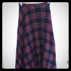Vintage Plaid Wool Maxi Midi Full Skirt