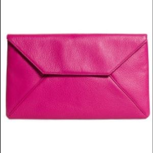 Brooks Brothers Pink Calfskin Envelope Clutch