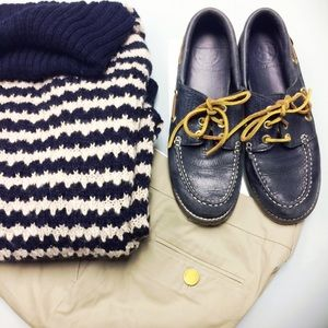 Tory Burch Shoes - Tory Burch Navy Leather Boat Shoes