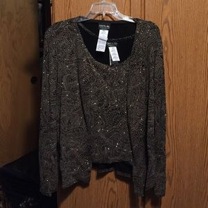 Onyx Tops - Holiday 2 piece sparkly tank and jacket