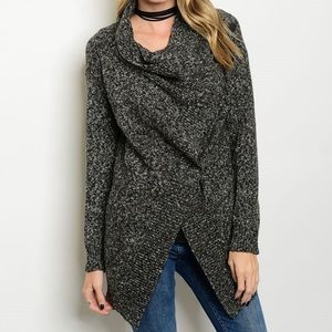 LAST ONEWrap Front Grey Cardigan Sweater