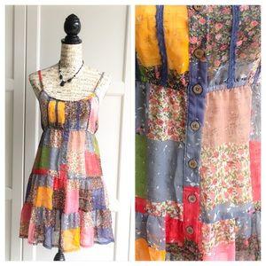Blue Bird Dresses & Skirts - Patchwork Sheer Babydoll Dress