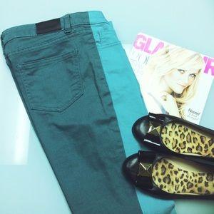 kate spade Denim - Kate Spade Saturday Teal Two-Tone Skinny Jeans