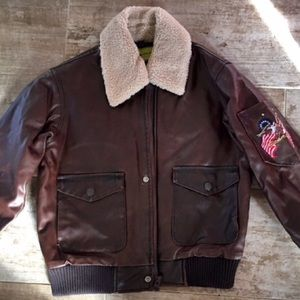 Class Club Other - Leather Look-Alike Bomber Jacket