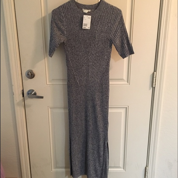 ec5e40dca47 H M Grey Ribbed Midi Dress