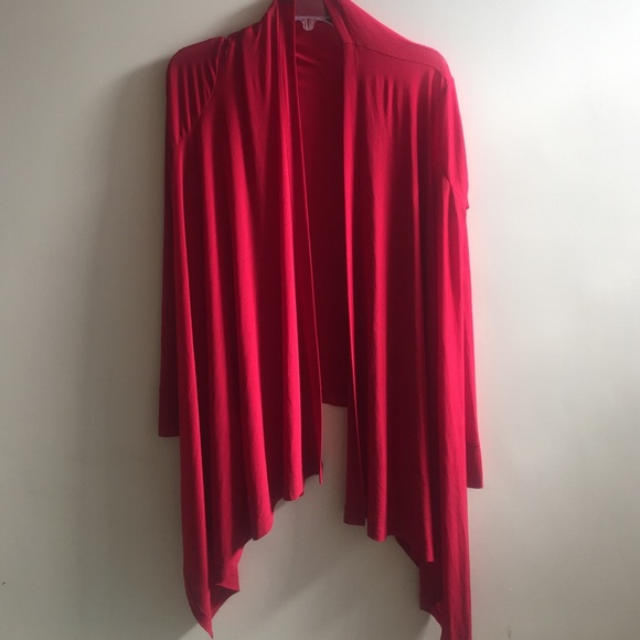 BCBGMaxAzria - Red Waterfall Cardigan from Sabrina's closet on ...