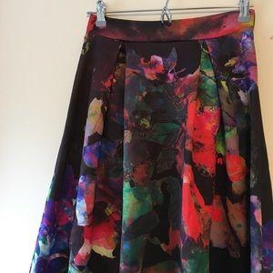 Collage Print A-Line Skirt