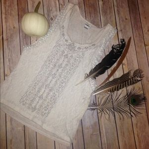 Daytrip Tops - DAYTRIP Lace Cream Sparkle Sleeveless BUCKLE Top S