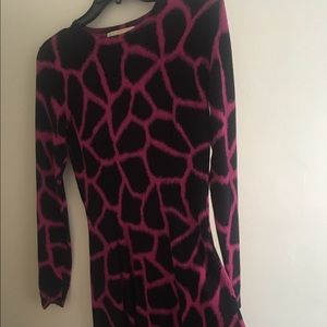 Michael Kors fuschia cow print sweater dress