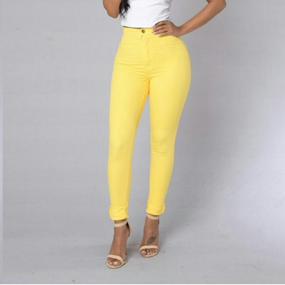 Fashion Nova - Fashion Nova Yellow High Waisted jeans from ...