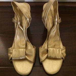 Diane Von Furstenberg Gold Slingback Sandals