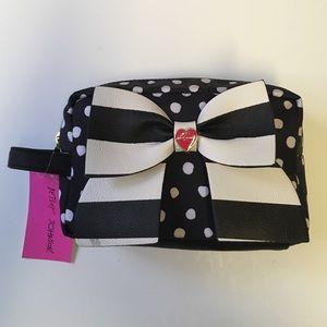 Betsey Johnson Black & White Bow Cosmetic Bag