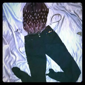 Rocawear Denim - Rocawear~ Black w Gold Accents & Ruched Bottoms