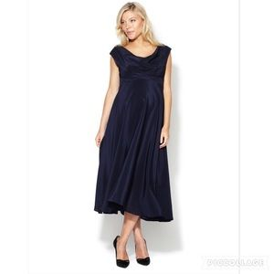 $330 SILK Eva Alexander London Cowl Neck Dress
