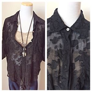 MISS ME Couture Sheer Silk Black Blouse