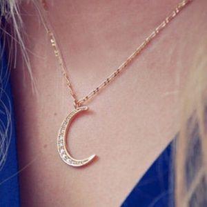 Jewelry - Moriah Dainty Gold Rhinestone Moon Boho Necklace