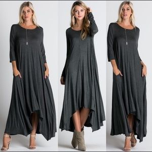 Leoninus Dresses & Skirts - 🏆H.P.🏆🇺🇸Loose Fit LONG SLEEVE Maxi charcoal