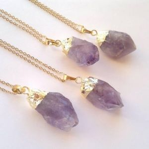 Natural Stone Crystal Necklace Delicate Gold Chain
