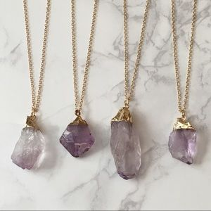 Natural Stone Raw Crystal Necklace Dainty Chain