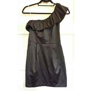 Solemio Dresses & Skirts - New Black Satin One Shoulder Mini Dress