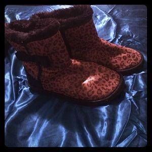 Leopard print slipper boots