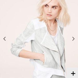 LOFT Lou & Grey Microstripe Linen Moto Jacket