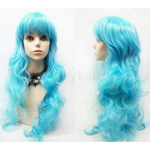 Long wavy blue costume anime cosplay wig