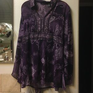 Purple sheer tunic, Large