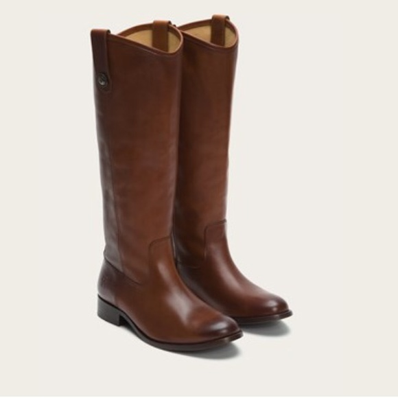 Frye Shoes Boots Melissa Button Cognac Extended Calf