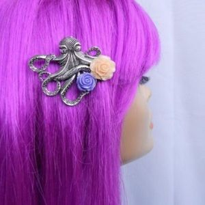 Abbie's Anchor Accessories - Nautical octopus hair clip with roses